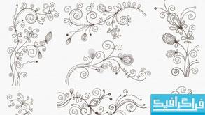 دانلود وکتور طرح های گلدار تزئینی