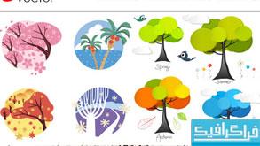 دانلود وکتور درختان 4 فصل