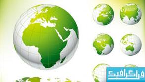 دانلود وکتور کره زمین و نقشه سبز