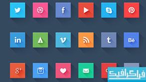 دانلود آیکون شبکه های اجتماعی - طرح تخت