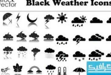 دانلود آیکون های آب و هوا – رنگ سیاه