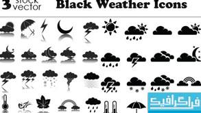 دانلود آیکون های آب و هوا - رنگ سیاه