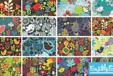 دانلود وکتور های کارت با طرح گل و پرنده