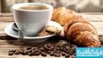 دانلود تصاویر استوک فنجان قهوه و نان صبحانه