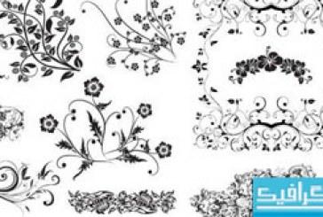 دانلود وکتور طرح های گلدار تزئینی – شماره 4