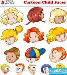 دانلود وکتور های صورت کودکان - کارتونی