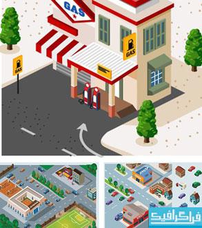 وکتور طرح های ایزومتریک ساختمان و گیاه