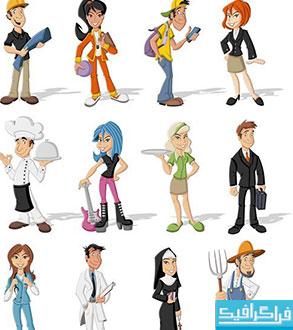 دانلود وکتور های مردم - کارتونی - شماره 2