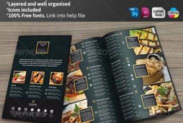 فایل لایه باز ایندیزاین منوی رستوران – سیاه و طلایی