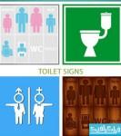 دانلود وکتور علامت های توالت - Toilet