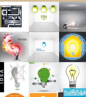 دانلود وکتور طرح های خلاقانه لامپ برق