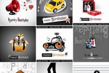 دانلود وکتور طرح های بامزه تبریک تولد