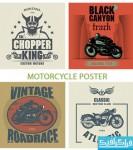 دانلود وکتور طرح های پوستر موتور سیکلت
