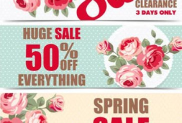 وکتور های بنر و برچسب فروش – طرح بهاری
