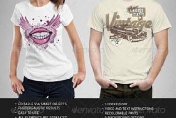 ماک آپ فتوشاپ تی شرت مردانه و زنانه