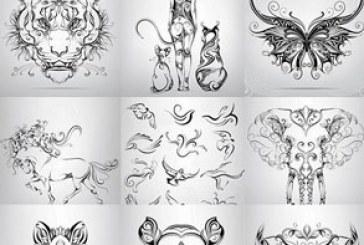 وکتور طرح های خالکوبی حیوان و برجگاه