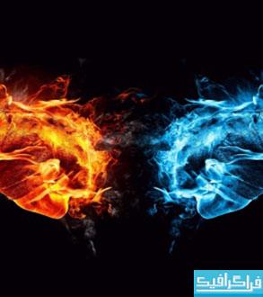 دانلود والپیپر آتش قرمز و آبی