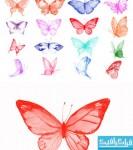 دانلود براش های فتوشاپ پروانه - طرح آبرنگ