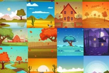 دانلود وکتور طرح های محیط شهری و طبیعت
