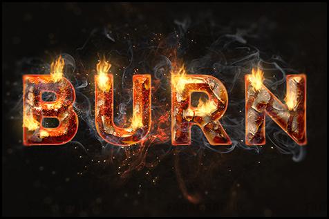 آموزش فتوشاپ افکت متن آتش و زنگ زدگی با فیلتر Flame