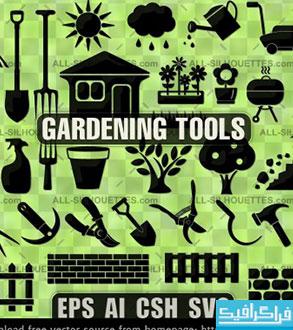 دانلود وکتور های وسایل باغبانی - Gardening Tools