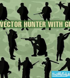 دانلود وکتور های شکارچی با تفنگ