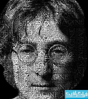 آموزش فتوشاپ تبدیل تصویر صورت پرتره به متن
