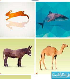 دانلود وکتور حیوانات - طرح چند ضلعی Low Poly