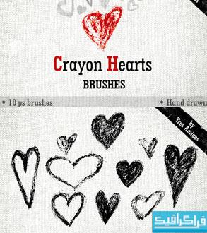 براش های فتوشاپ قلب - طرح مداد شمعی
