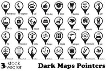 دانلود آیکون های اشاره گر نقشه – رنگ تیره
