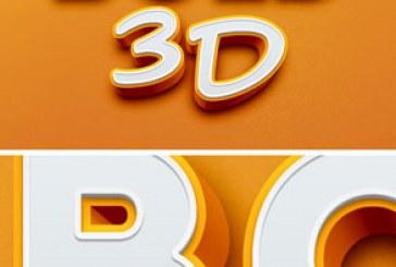 فایل لایه باز افکت متنی 3 بعدی ضخیم