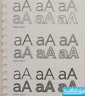 فایل لایه باز افکت متنی طرح اولیه - اسکچ