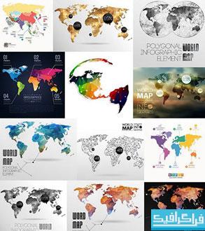 دانلود وکتور های نقشه جهان - شماره 2