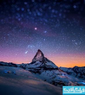 دانلود والپیپر کوهستان در شب