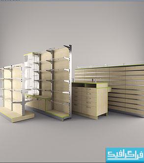 دانلود مدل سه بعدی قفسه های فروشگاه