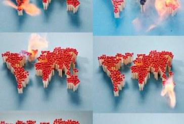 دانلود تصاویر استوک نقشه جهان با کبریت