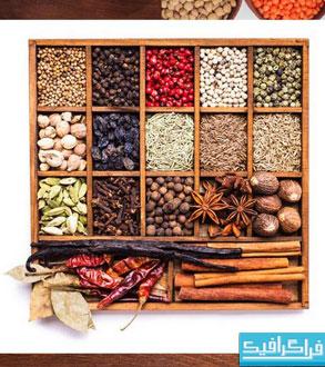 دانلود تصاویر استوک لوبیا - برنج - ادویه
