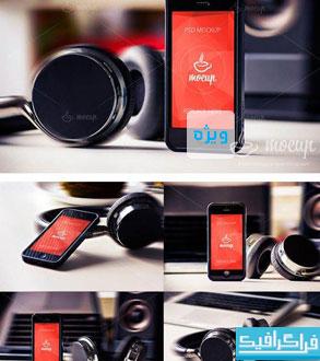 دانلود ماک آپ گوشی iPhone 5 زمینه موسیقی
