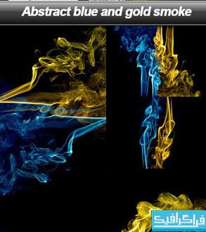 دانلود تصاویر استوک دود آبی و طلایی