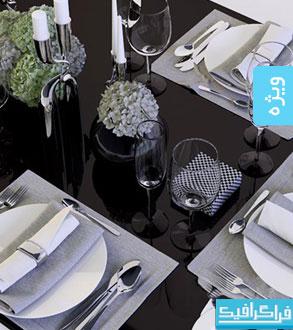 دانلود مدل سه بعدی وسایل میز غذا خوری