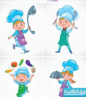 دانلود وکتور های کودک آشپز
