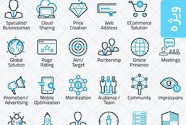 آیکون های خطی سئو – وب سایت – بازاریابی