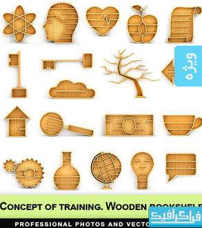 تصاویر استوک کتابخانه های چوبی - طرح مفهومی