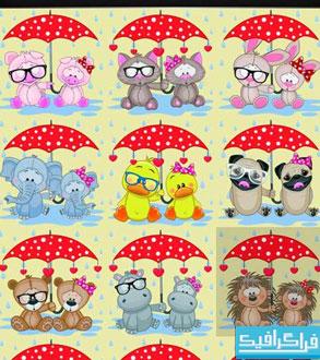 دانلود وکتور حیوانات بامزه با چتر