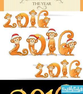 دانلود وکتور های سال 2016 - طرح میمون