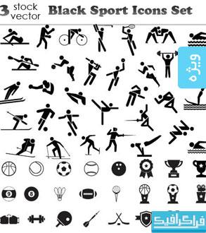 دانلود آیکون های ورزشی رنگ سیاه - شماره 2