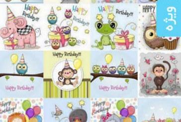 وکتور طرح های کارت تبریک تولد کودک