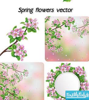 دانلود وکتور گل های بهاری