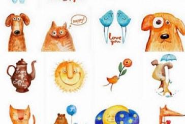 وکتور نقاشی های غیر عادی آبرنگ کودکان