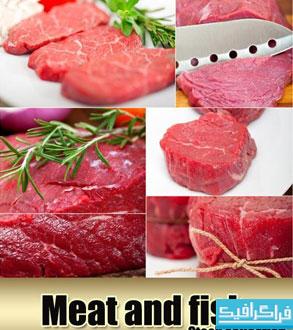 دانلود تصاویر استوک گوشت و ماهی تازه